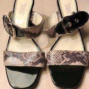Farco Sarto Black & White snakeskin slip on heels